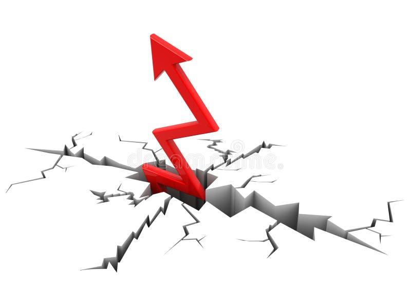 Flecha roja que se rompe a través de la tierra, concepto del éxito 3d rinden ilustración del vector