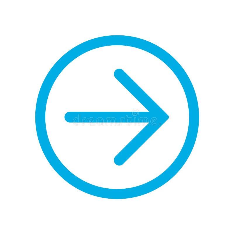 Flecha siguiente derecha azul en círculo azul Icono para los botones en sus páginas del sitio web libre illustration