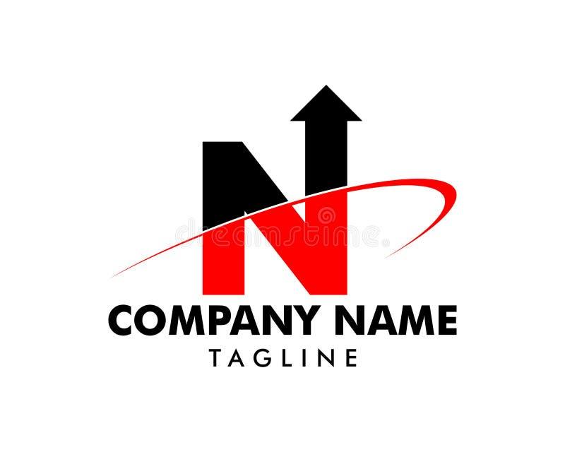 Flecha Swoosh Logo Template Design de la letra inicial N stock de ilustración