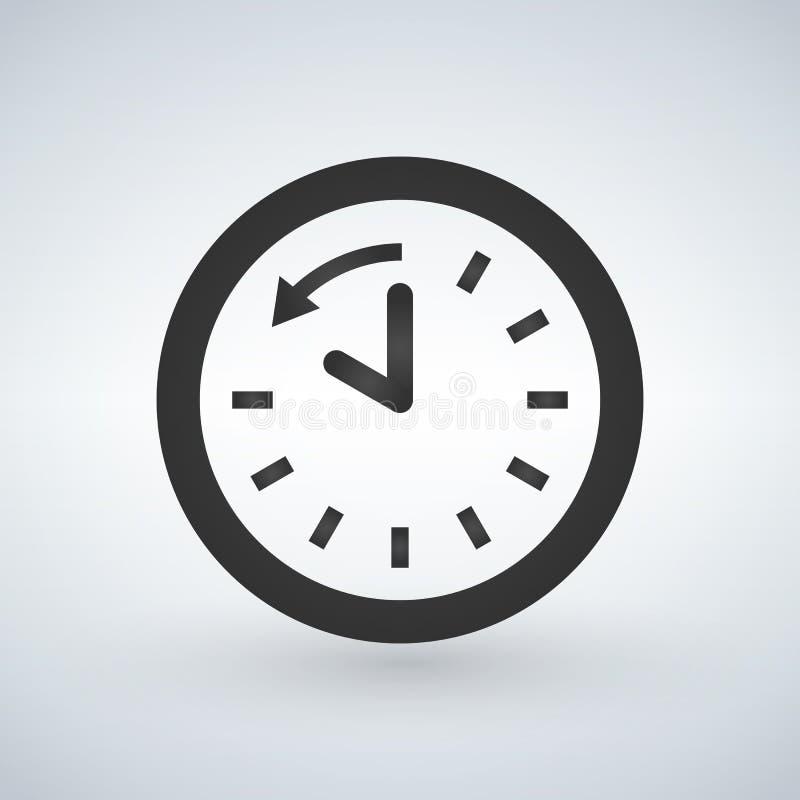 Flecha trasera alrededor del icono del glyph del reloj counterclockwise reschedule Símbolo de la silueta Espacio negativo Ejemplo ilustración del vector