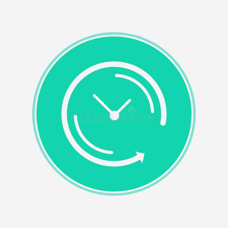 Flecha trasera alrededor del símbolo de la muestra del icono del vector del reloj ilustración del vector
