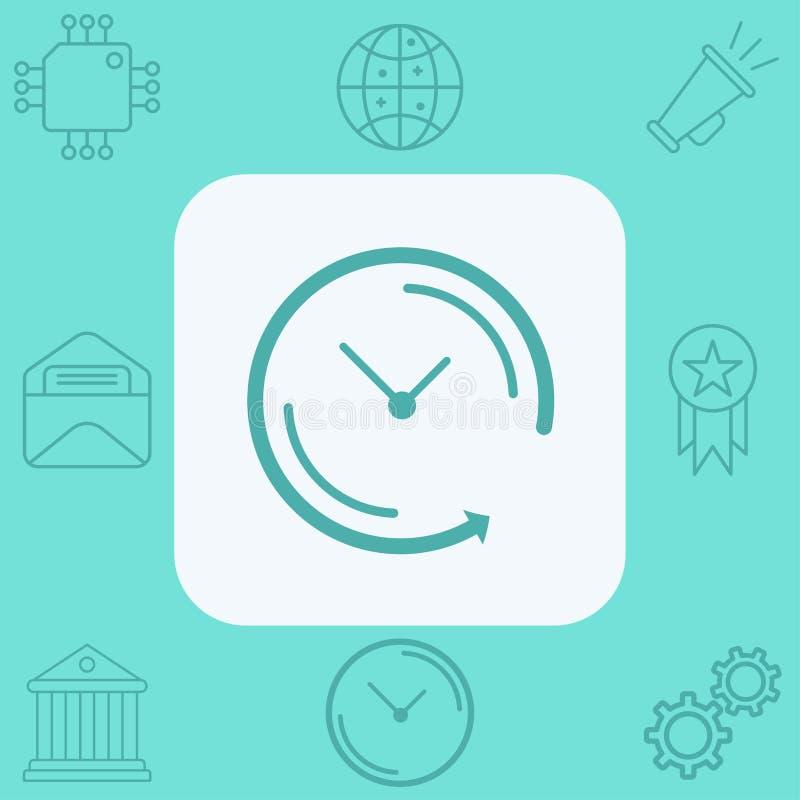 Flecha trasera alrededor del s?mbolo de la muestra del icono del vector del reloj libre illustration