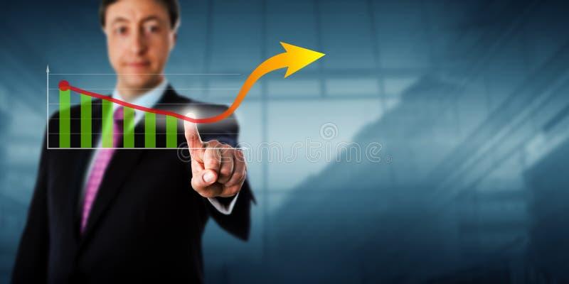 Flecha virtual conmovedora del crecimiento del hombre de negocios imagenes de archivo