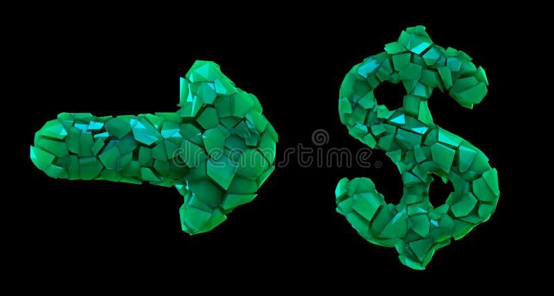 Flecha y dólar de la colección del símbolo hechos que de 3d rinde color verde de los cascos plásticos Colecci?n de s?mbolo pl?sti stock de ilustración