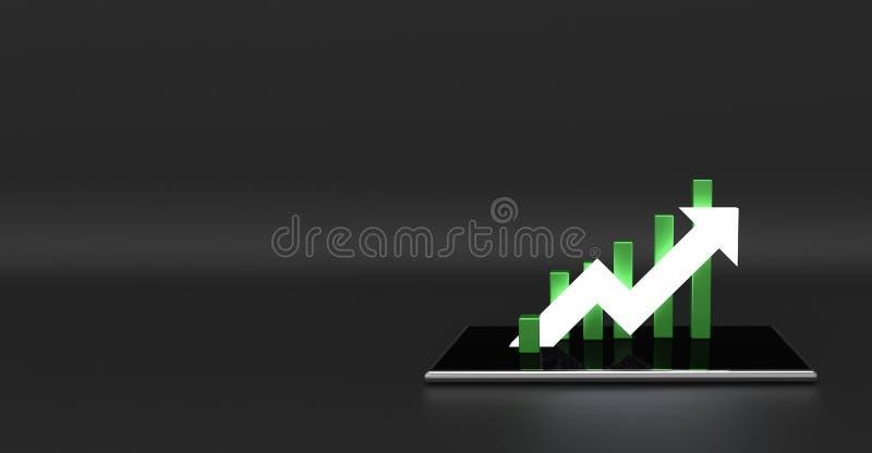 Flecha y gráfico verdes en el teléfono móvil Concepto cada vez mayor del asunto foto de archivo libre de regalías
