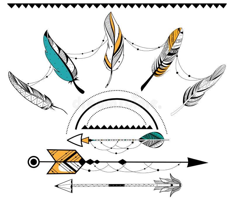 Flecha y pluma para el estilo tribal del boho stock de ilustración