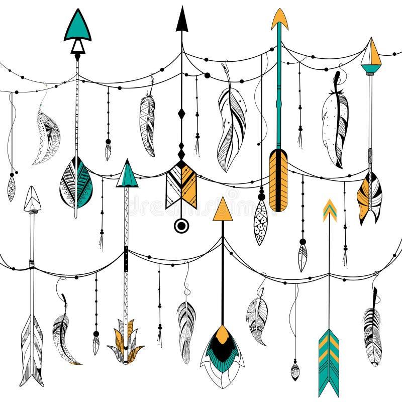 Flecha y pluma para el estilo tribal del boho ilustración del vector