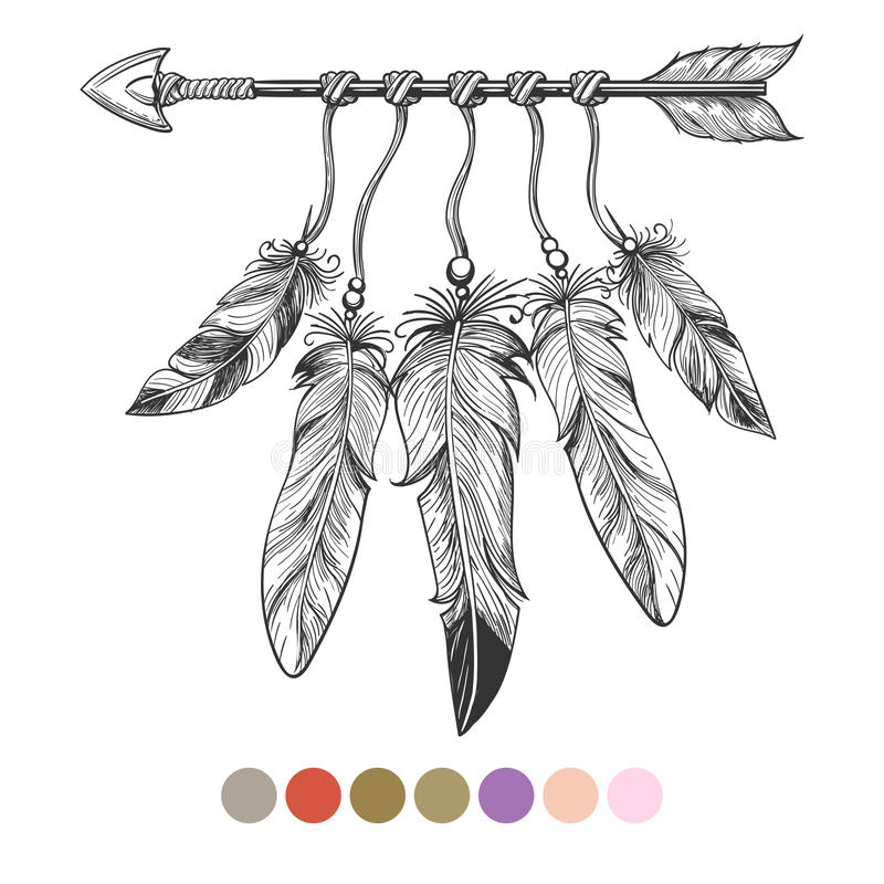 Flecha y plumas tribales de Colorng libre illustration