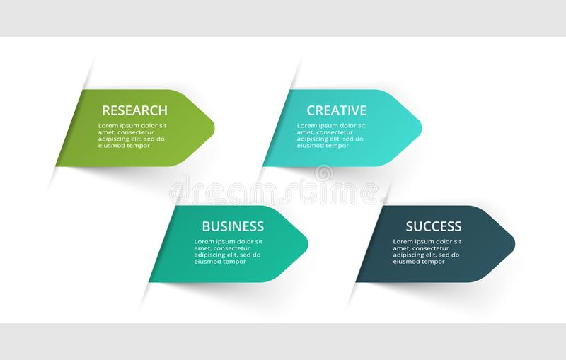 Flechas abstractas del gr?fico, del diagrama con 4 pasos, de opciones, de piezas o de procesos Plantilla del negocio del vector p libre illustration