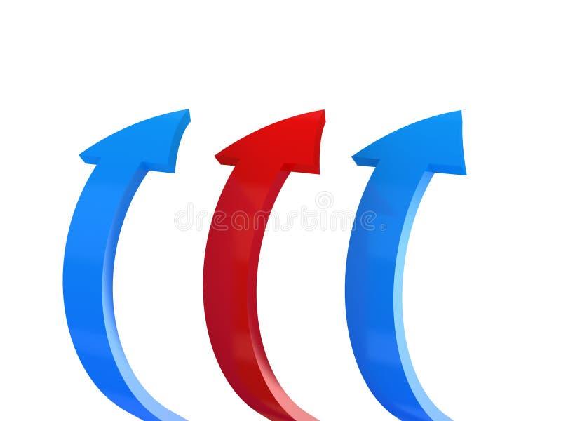 Flechas azules y rojas ilustración del vector
