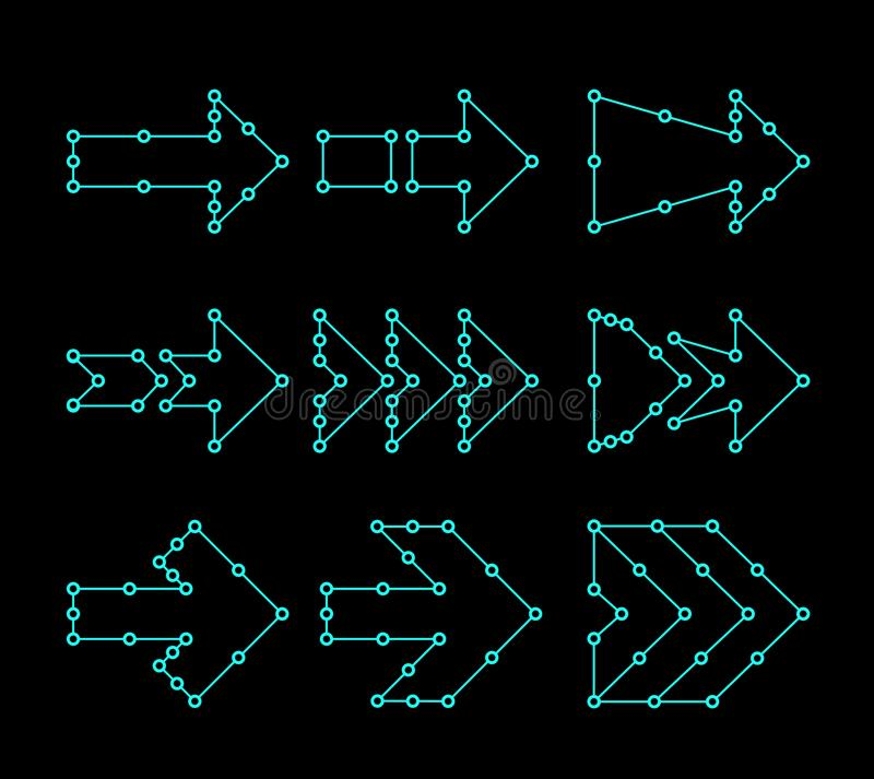 Flechas bajo la forma de líneas, puntos conectados Diseño de interfaz de HUD ilustración del vector