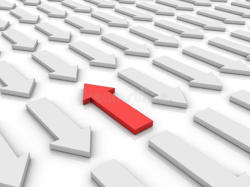 Flechas blancas un rojo ilustración del vector