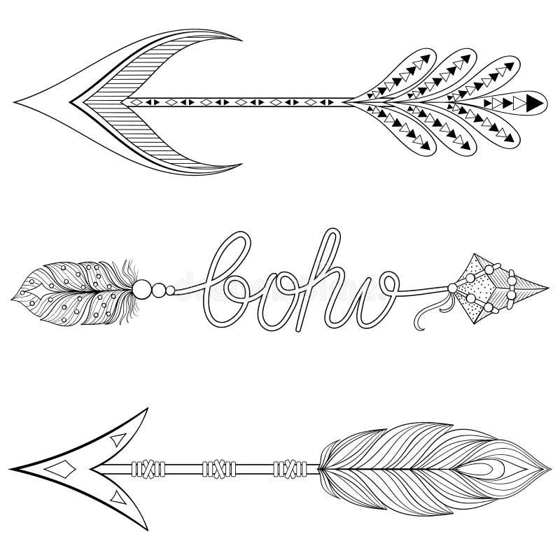 Flechas bohemias fijadas con las plumas Flechas dibujadas mano fijadas para el anuncio stock de ilustración