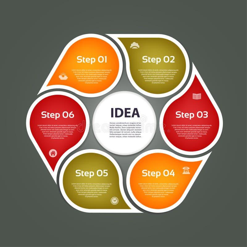 Flechas circulares para el infographics Carta, gráfico, diagrama con 6 pasos, opciones, piezas Plantilla del negocio del vector ilustración del vector