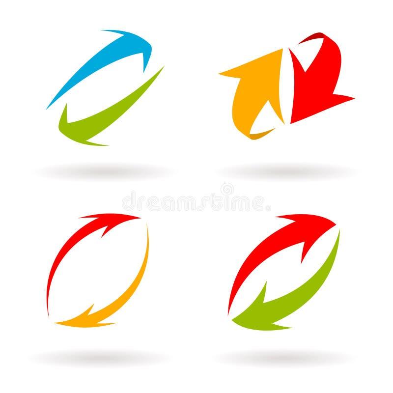 Flechas coloridas del vector 3d fijadas stock de ilustración