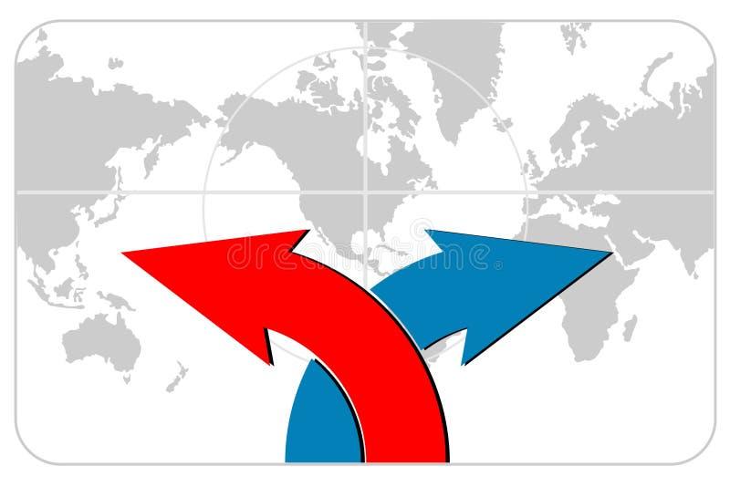 Flechas con la correspondencia de mundo ilustración del vector