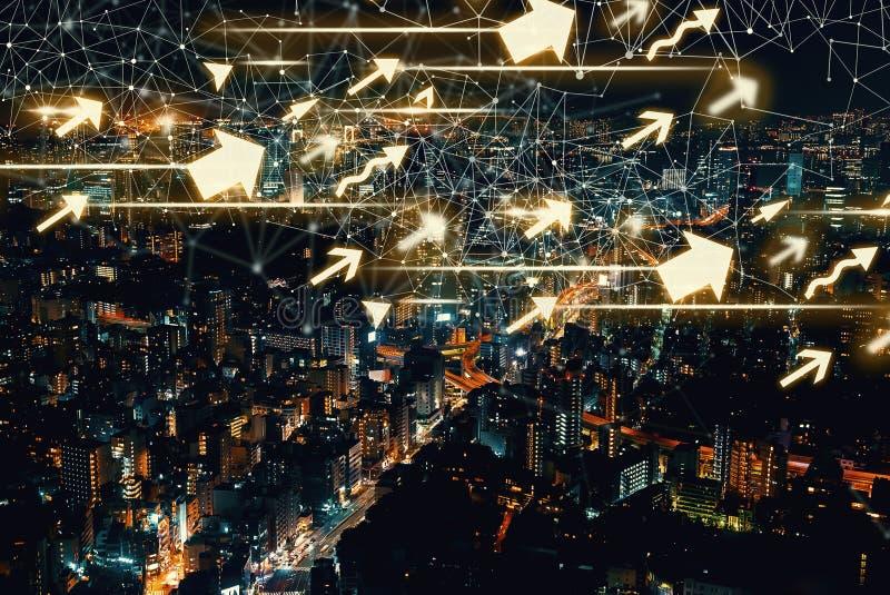 Flechas con la vista aérea de Tokio, Japón foto de archivo libre de regalías