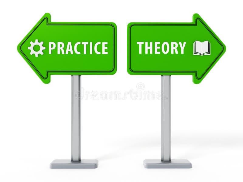 Flechas con palabras de la teoría y de la práctica en fondo azul ilustración 3D ilustración del vector