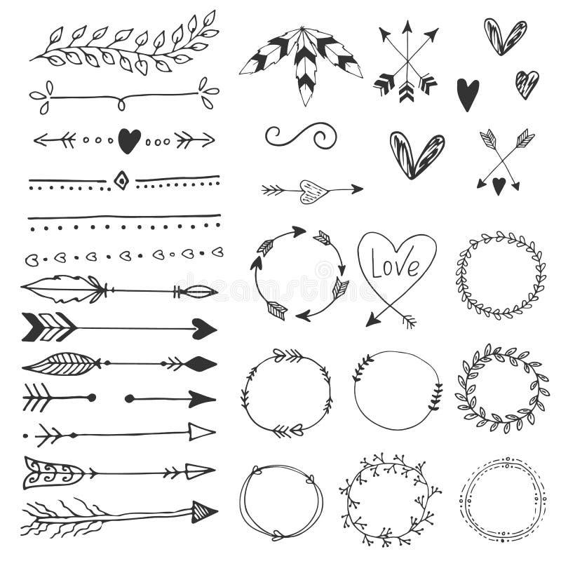 Flechas, corazones, ornamento - elementos handdrawn de la decoración de la boda en estilo del boho Colección del vector libre illustration