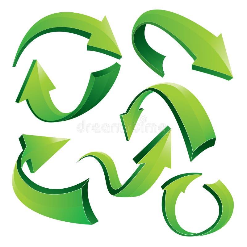 Flechas curvadas verde 3D stock de ilustración