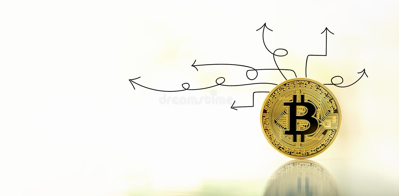 Flechas de la idea con el bitcoin fotos de archivo libres de regalías