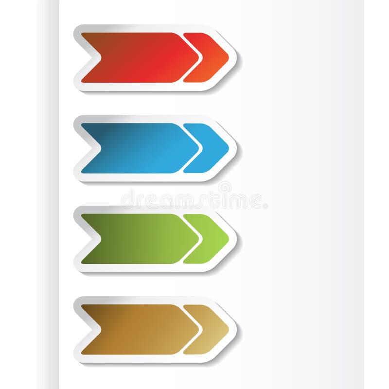 Flechas de la navegación del vector en el papel stock de ilustración