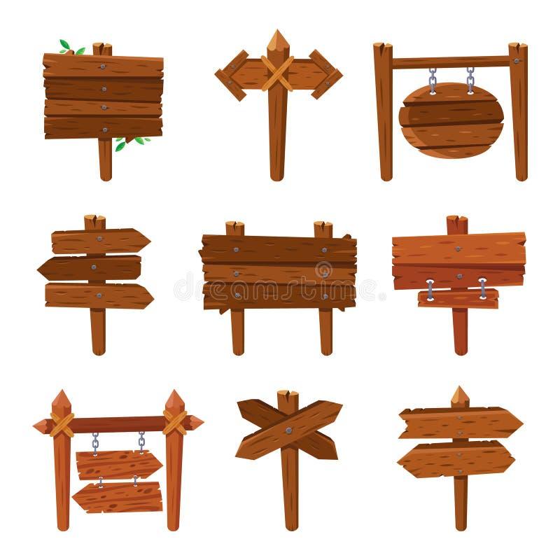 Flechas de madera de la historieta Tableros de la muestra del vintage y muestras de madera de la flecha Sistema aislado del vecto stock de ilustración