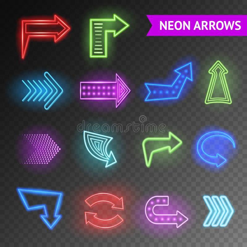 Flechas de neón brillantes fijadas ilustración del vector