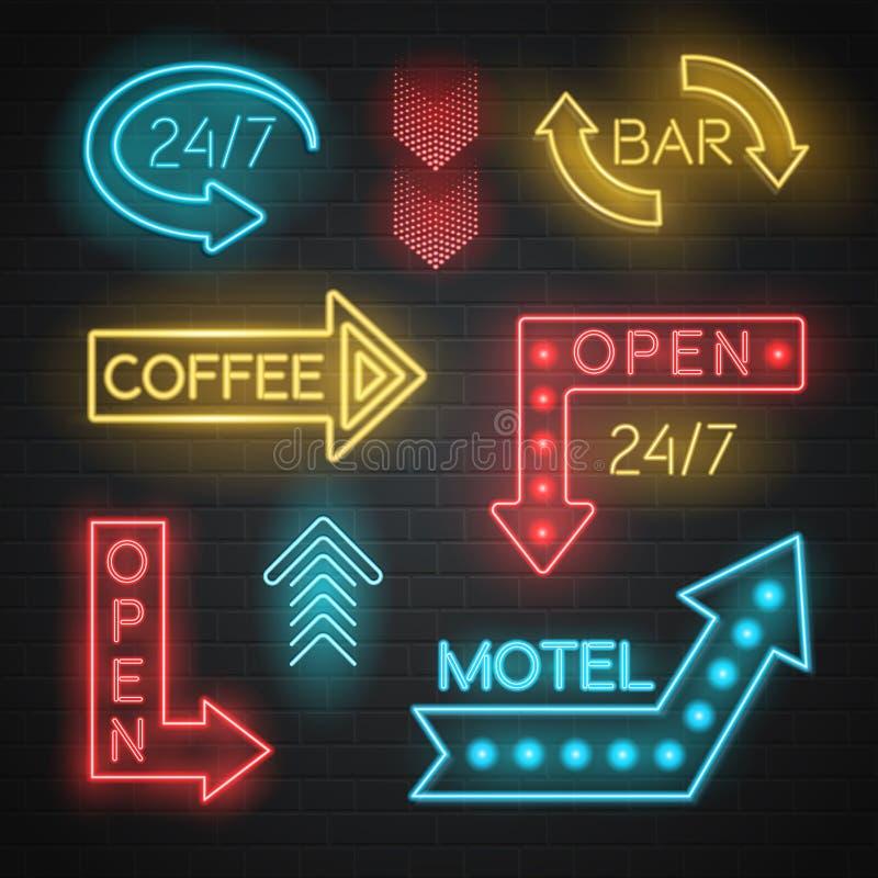 Flechas de neón del motel y de la barra fijadas ilustración del vector