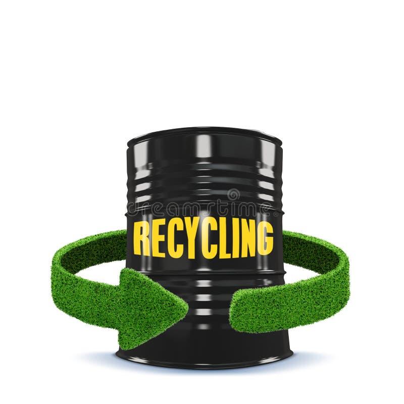 Flechas del depósito y del verde de gasolina de la hierba Reciclaje del aislamiento del concepto en blanco libre illustration