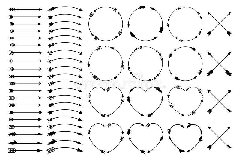 Flechas del inconformista Flechas en estilo del boho Flechas tribales cruzadas de Criss Monogramas del círculo y del corazón Sist ilustración del vector