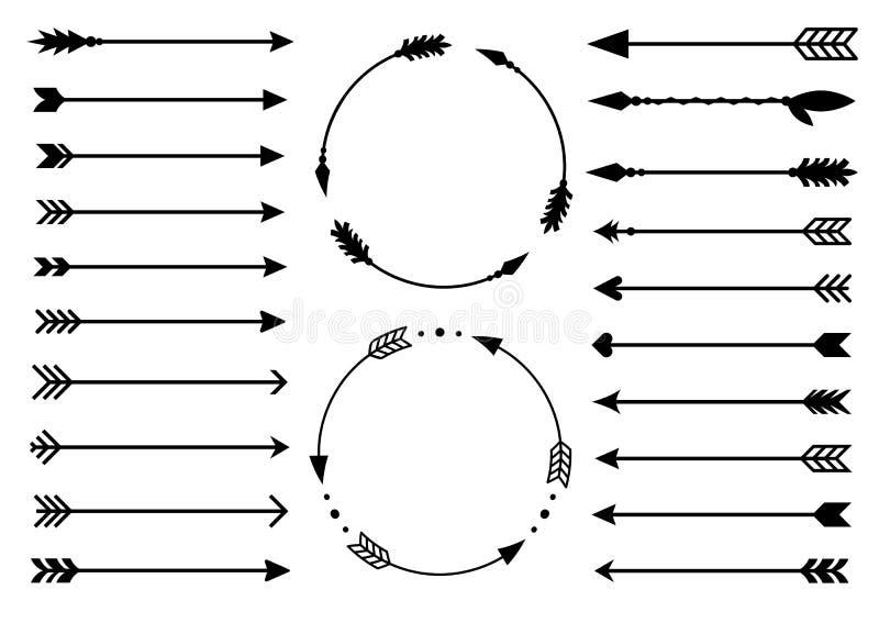 Flechas del inconformista Flechas en estilo del boho Flechas tribales Sistema de flechas indias del estilo Flechas decorativas rú libre illustration