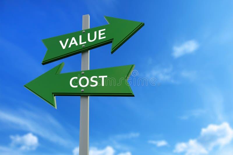 Flechas del valor y del coste enfrente de direcciones stock de ilustración