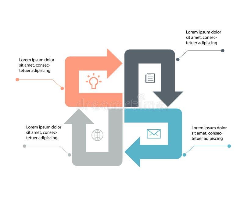 Flechas del vector infographic Concepto del negocio con 4 opciones, porciones, pasos o procesos ilustración del vector