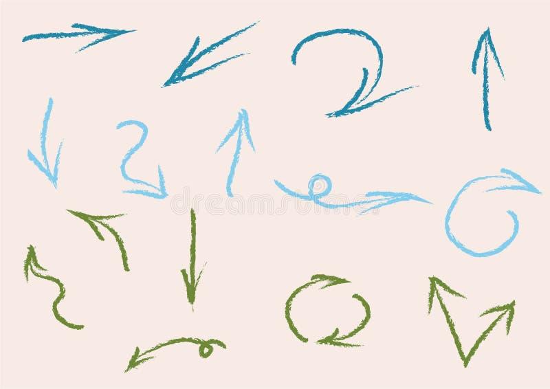 Flechas del vector que señalan la manera dondequiera stock de ilustración