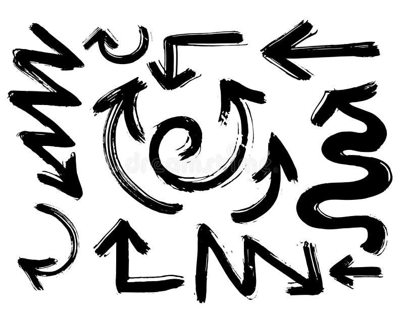 Flechas dibujadas abstractas de la mano negra del vector fijadas Ejemplo del sistema hecho a mano de la flecha del vector del bos ilustración del vector