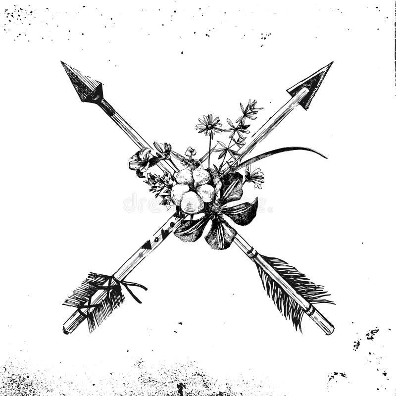 Flechas dibujadas mano con las flores y las hojas stock de ilustración