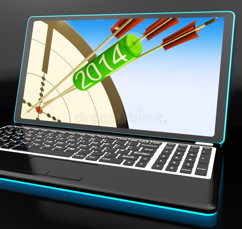 2014 flechas en el ordenador portátil que muestra festividades libre illustration
