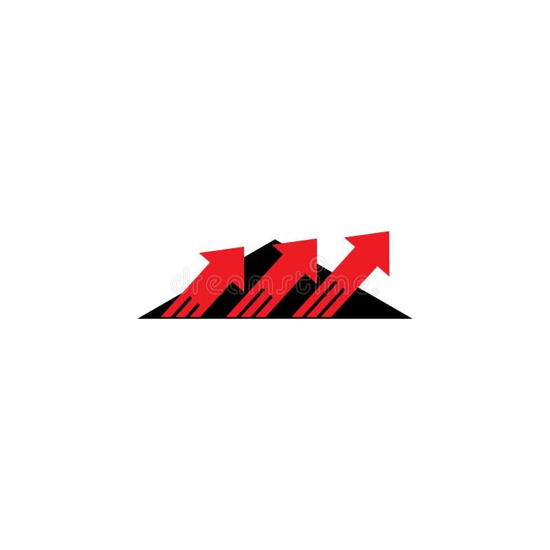 Flechas encima del logotipo simple rápido del movimiento stock de ilustración
