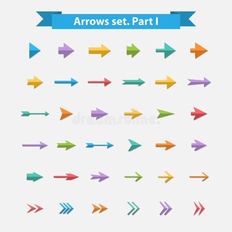 Flechas grandes del sistema del vector en estilo plano stock de ilustración
