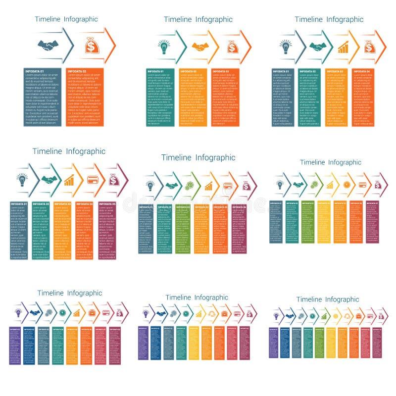 Flechas horizontales del color, infographics de las plantillas para 2,3,4,5,6,7,8,9,10 posiciones Cronología libre illustration