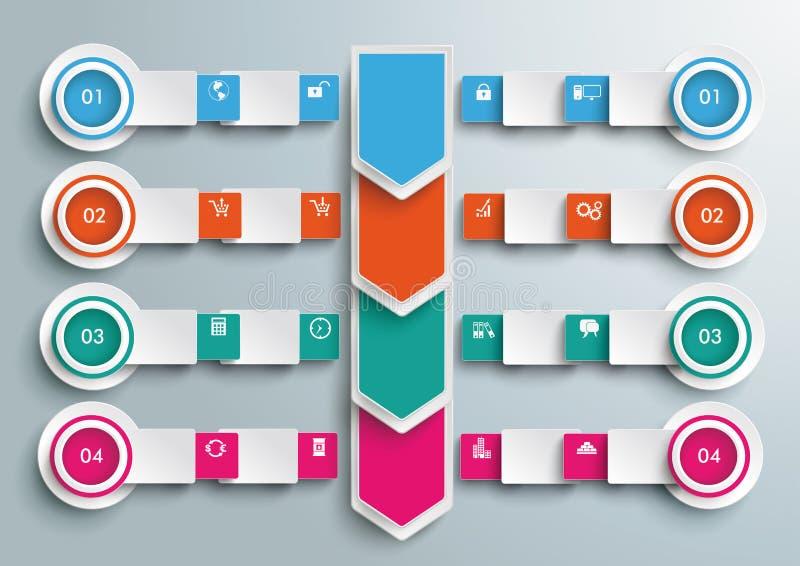 Flechas Infographic grande de los círculos de las banderas de los rectángulos libre illustration