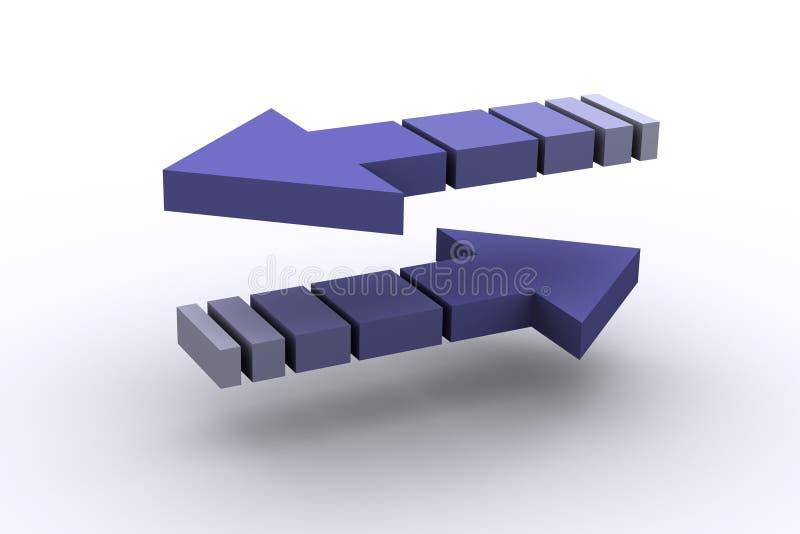 Flechas invertidas stock de ilustración