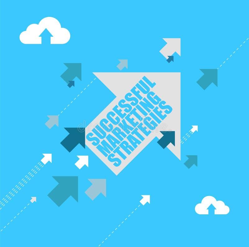 Flechas múltiples de las estrategias de marketing acertadas que siguen un avance stock de ilustración