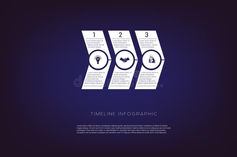 Flechas numeradas horizontales Ejemplo o fondo del concepto Cronología Infographic Posiciones monocromáticas de la plantilla 3 de ilustración del vector