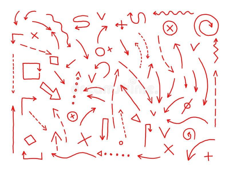 Flechas que dibujan el sistema Pintado a mano Líneas rojas en proyecto del bosquejo del lápiz stock de ilustración