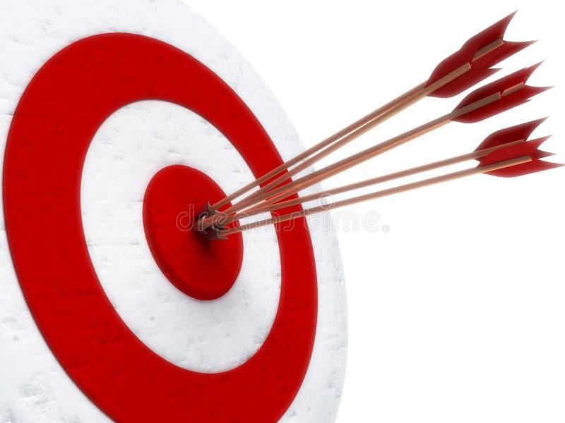 Flechas que golpean directamente en ojo de toros ilustración del vector