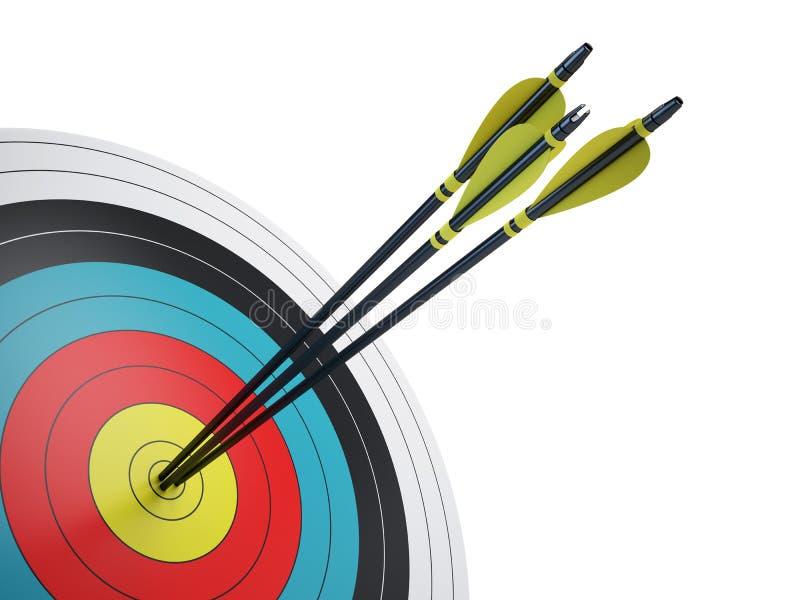 Flechas que golpean el centro de la blanco stock de ilustración