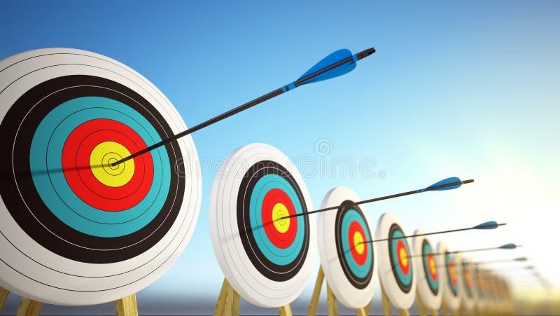 Flechas que golpean los centros de las blancos - concepto del negocio del éxito stock de ilustración