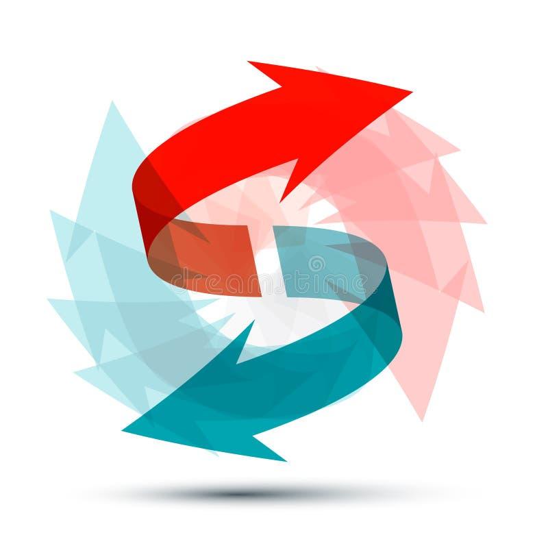 Flechas que hacen girar alrededor Símbolo doble de la flecha ilustración del vector